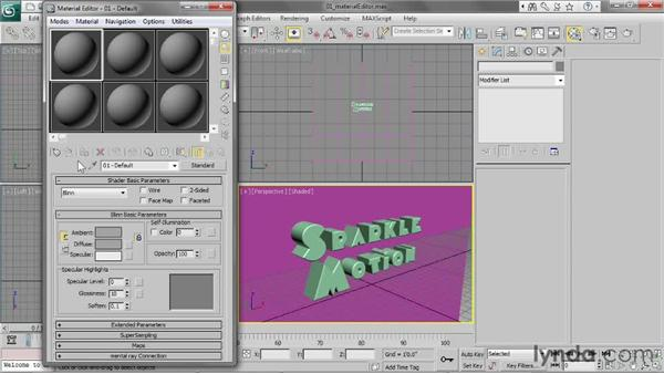 Opening the Material Editor: 3ds Max 2013 Essential Training