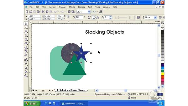stacking objects: Getting Started with CorelDRAW 11