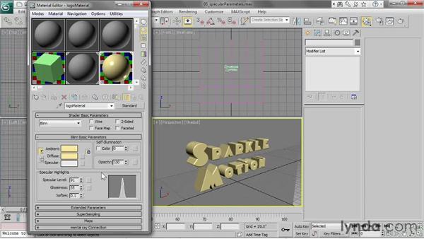 Adjusting specular parameters: 3ds Max 2013 Essential Training