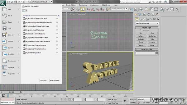 Tracking scene assets: 3ds Max 2013 Essential Training