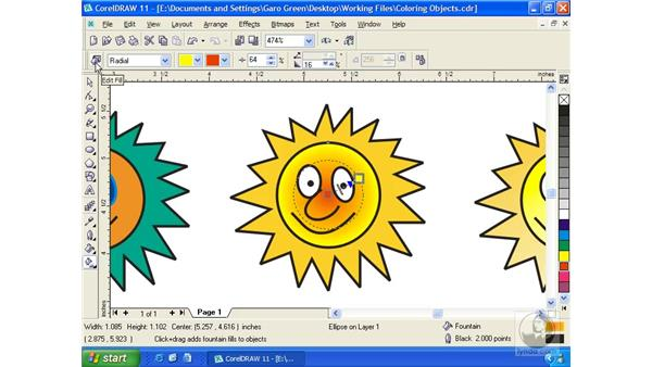 coloring objects: Getting Started with CorelDRAW 11