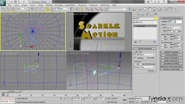 Adjusting intensity and color: 3ds Max 2013 Essential Training
