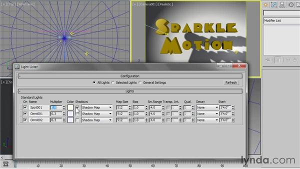 Using the Light Lister: 3ds Max 2013 Essential Training