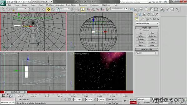 Creating keyframes in Set Key mode: 3ds Max 2013 Essential Training