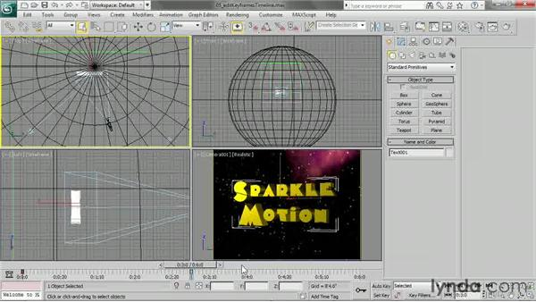 Editing keyframes in the timeline: 3ds Max 2013 Essential Training