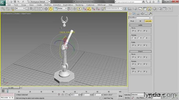 Locking transforms: 3ds Max 2013 Essential Training
