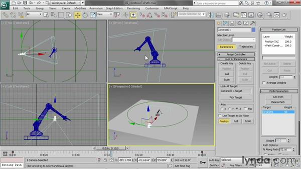 Constraining animation to a path: 3ds Max 2013 Essential Training