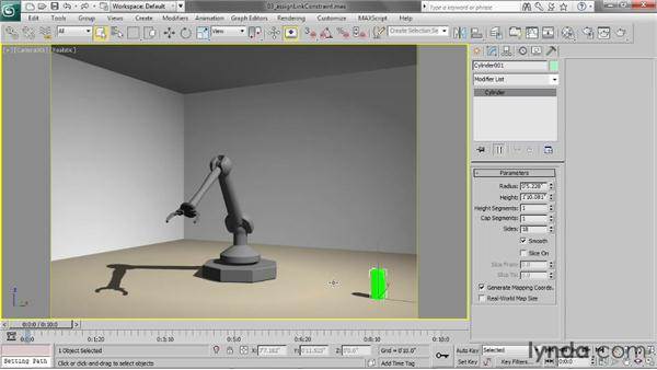 Assigning a Link constraint: 3ds Max 2013 Essential Training