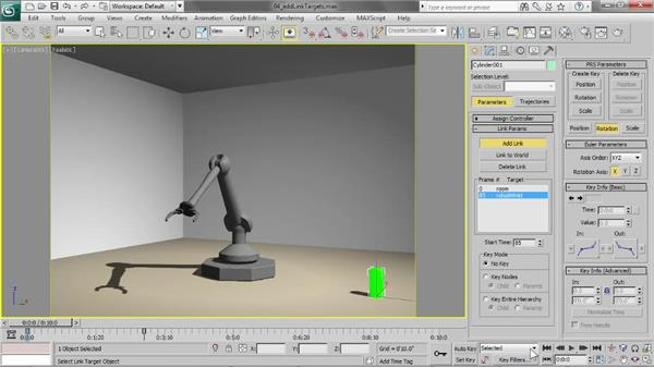 Adding link targets in the Motion panel: 3ds Max 2013 Essential Training