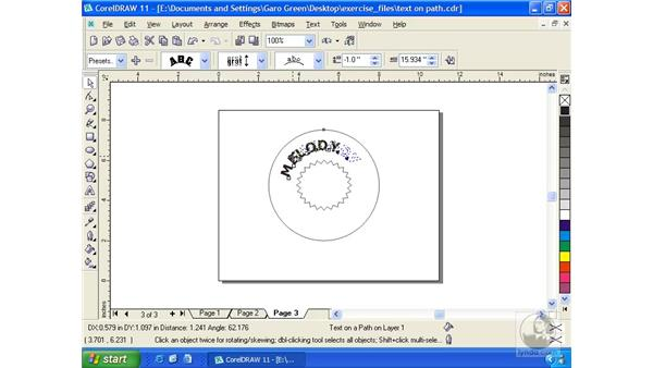 text on path: Getting Started with CorelDRAW 11