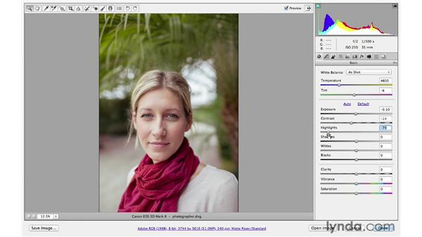 Making exposure enhancements: Photoshop CS6 for Photographers: Camera Raw 7