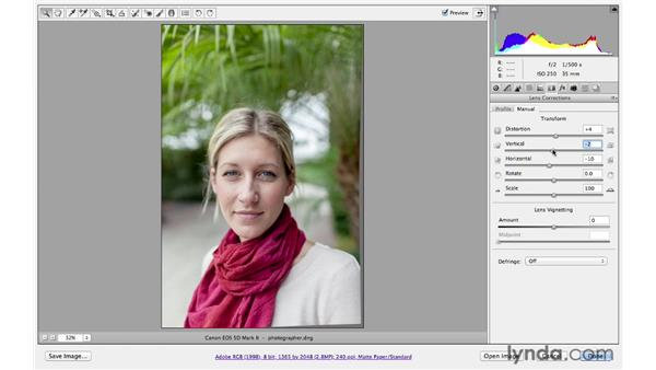 Improving a portrait with lens corrections: Photoshop CS6 for Photographers: Camera Raw 7