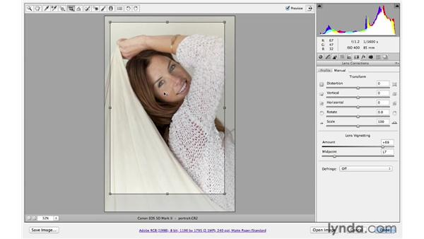 Combining lens corrections with creative cropping: Photoshop CS6 for Photographers: Camera Raw 7