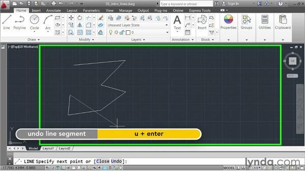 Constructing lines: AutoCAD 2013 Essentials: 02 Drawing Fundamentals