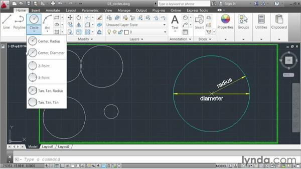 Drawing circles: AutoCAD 2013 Essentials: 02 Drawing Fundamentals