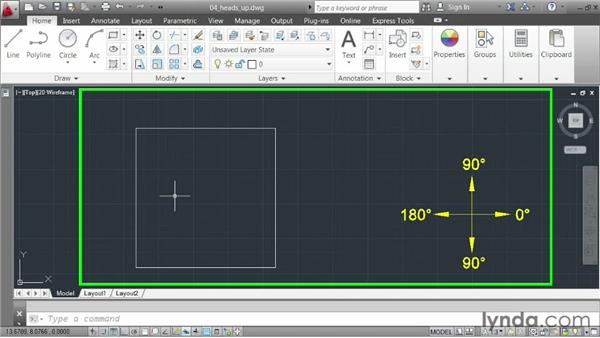 Activating the heads-up display: AutoCAD 2013 Essentials: 02 Drawing Fundamentals