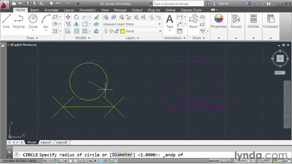 Locking to geometry using object snaps: AutoCAD 2013 Essentials: 02 Drawing Fundamentals