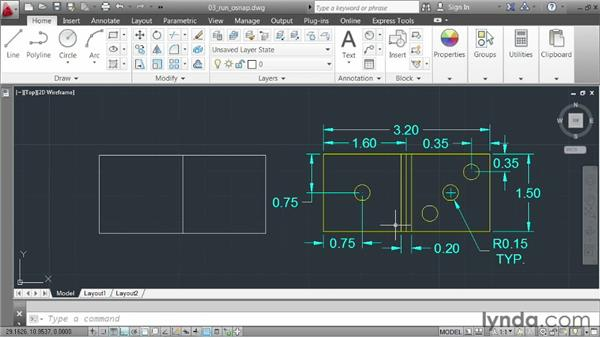 Automating object snap selection: AutoCAD 2013 Essentials: 02 Drawing Fundamentals