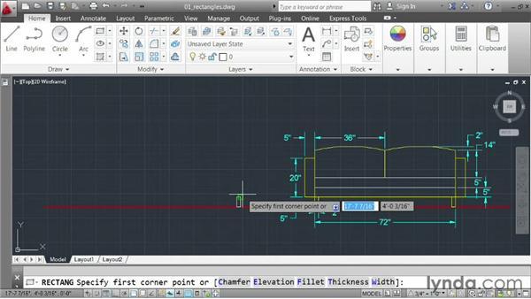 Drawing rectangles: AutoCAD 2013 Essentials: 02 Drawing Fundamentals