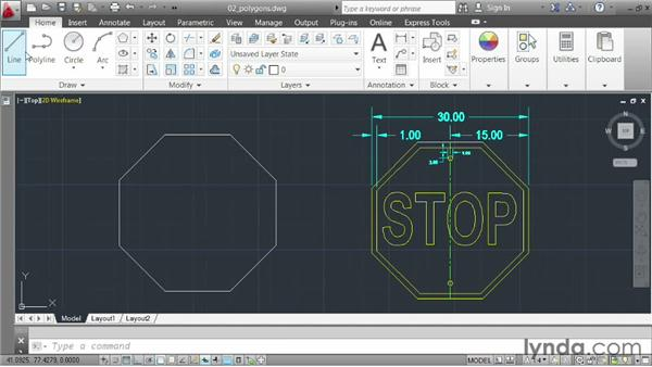 Drawing polygons: AutoCAD 2013 Essentials: 02 Drawing Fundamentals