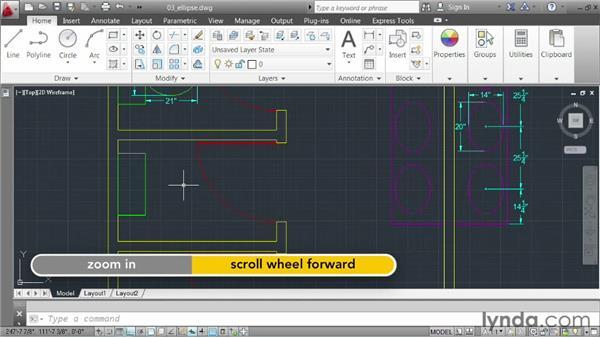 Creating an ellipse: AutoCAD 2013 Essentials: 02 Drawing Fundamentals