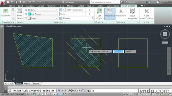 Applying hatch patterns: AutoCAD 2013 Essentials: 02 Drawing Fundamentals