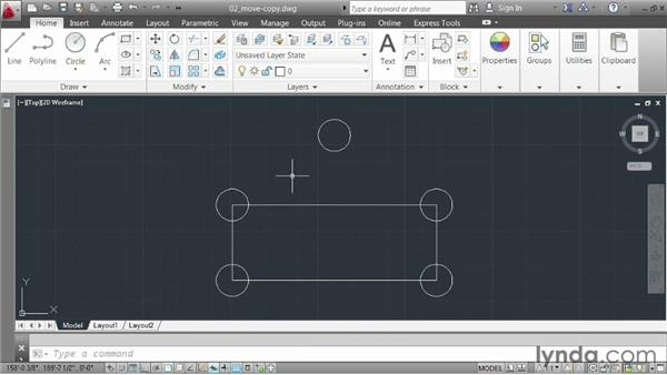 Moving and copying elements: AutoCAD 2013 Essentials: 02 Drawing Fundamentals