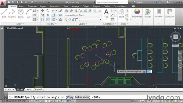 Rotating elements: AutoCAD 2013 Essentials: 02 Drawing Fundamentals