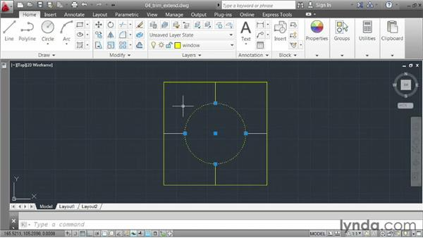 Trimming and extending geometry: AutoCAD 2013 Essentials: 02 Drawing Fundamentals