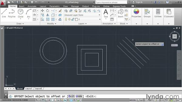 Creating offsets: AutoCAD 2013 Essentials: 02 Drawing Fundamentals