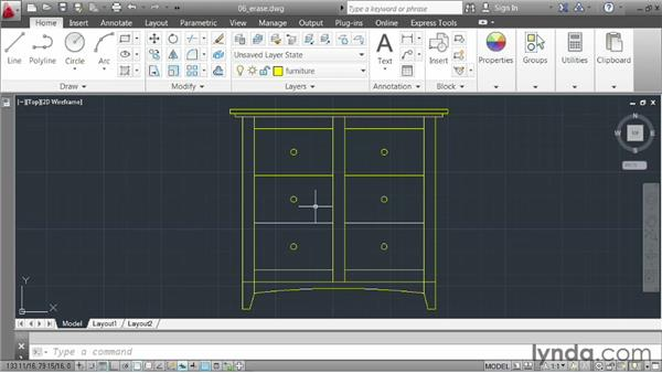 Erasing elements: AutoCAD 2013 Essentials: 02 Drawing Fundamentals