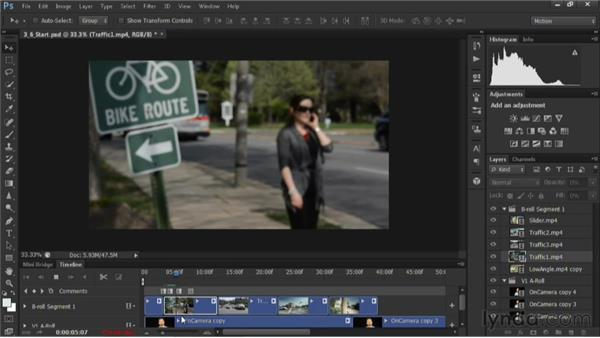 Editing B-roll in the timeline: Editing Video in Photoshop CS6