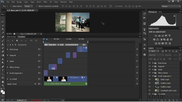 Adding a music bed to the timeline: Editing Video in Photoshop CS6