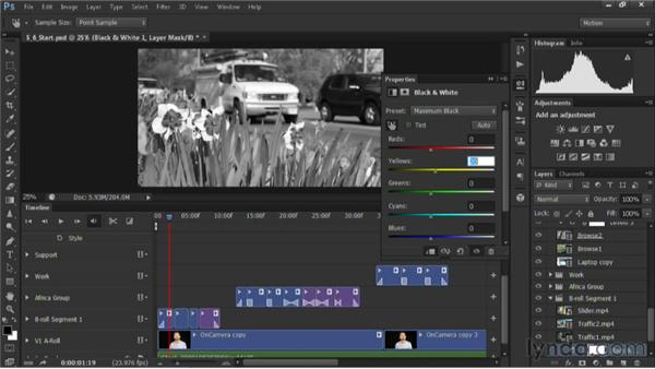 Creating black-and-white effects: Editing Video in Photoshop CS6