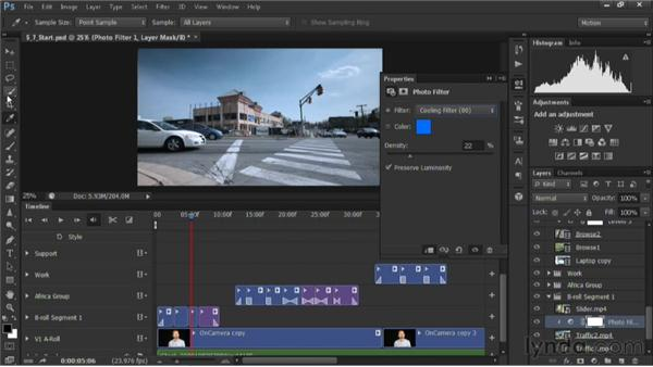 Using photo filters: Editing Video in Photoshop CS6