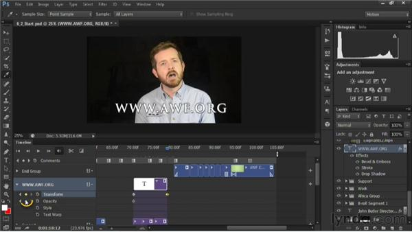 Animating text: Editing Video in Photoshop CS6