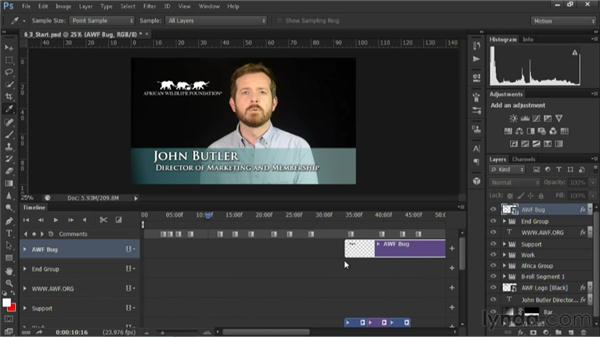 Inserting a logo bug: Editing Video in Photoshop CS6