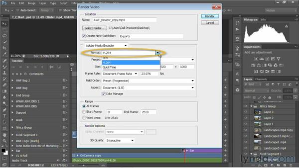 An overview of the Render Video dialog: Editing Video in Photoshop CS6