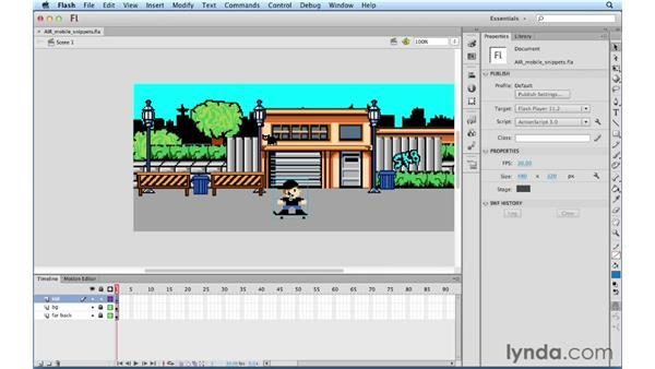 Using new code snippets for AIR and mobile: ActionScript 3.0 in Flash Professional CS5 Essential Training