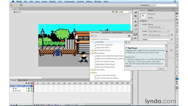 Viewing the new code snippets HUD: ActionScript 3.0 in Flash Professional CS5 Essential Training