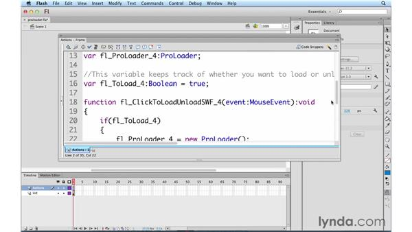 Loading assets with the new ProLoader class: ActionScript 3.0 in Flash Professional CS5 Essential Training