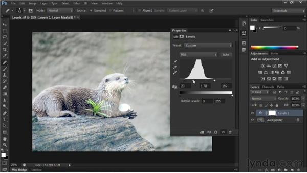 Fixing exposure with a Levels adjustment layer: Nondestructive Exposure and Color Correction with Photoshop