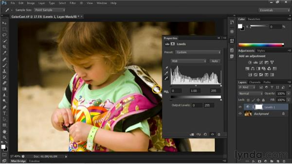Removing a color cast with a Levels adjustment layer: Nondestructive Exposure and Color Correction with Photoshop