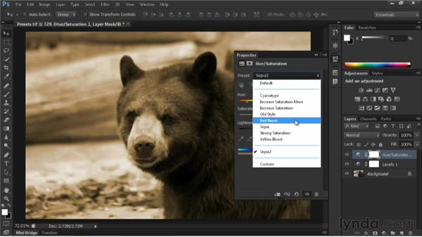 Using adjustment presets: Nondestructive Exposure and Color Correction with Photoshop