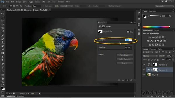 Controlling adjustment layers with masks: Nondestructive Exposure and Color Correction with Photoshop