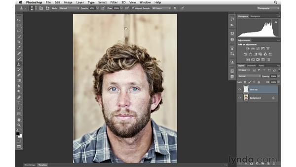 Simplifying the background with the Clone tool: Photoshop for Photographers: Portrait Retouching