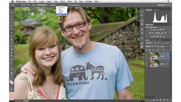 Removing a distracting logo: Photoshop for Photographers: Portrait Retouching