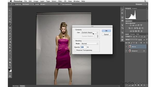Cleaning up a backdrop with Content-Aware Fill: Photoshop for Photographers: Portrait Retouching