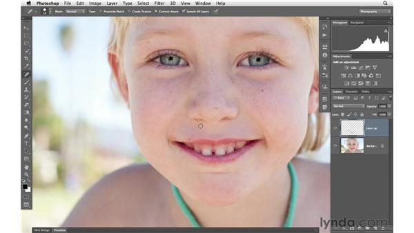 Removing small details from the face: Photoshop for Photographers: Portrait Retouching