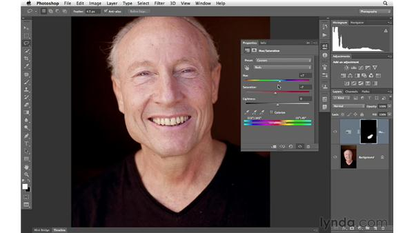 Using Hue/Saturation to minimize variations in skin color: Photoshop for Photographers: Portrait Retouching